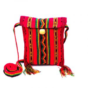 Handmade small square rasta purse bag with acrylic wool, button closure, and strap in red.