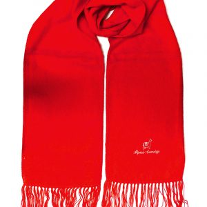 Handmade authentic alpaca wool winter scarf with stitched logo and fringe in red color.