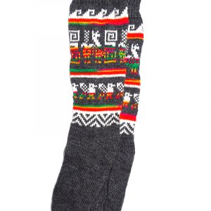 Handmade Peruvian tribal print socks with soft woven alpaca wool and tribal print pattern in charcoal gray and multicolored.
