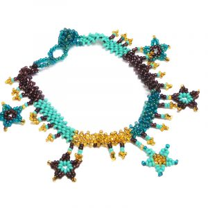 Handmade Czech glass seed bead anklet with beaded stars and fringe dangles in teal green, turquoise mint, gold, and burgundy color combination.