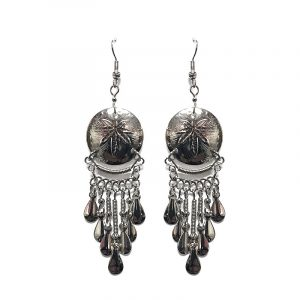Round-shaped alpaca silver metal earring with long dangles in cannabis pot leaf style.