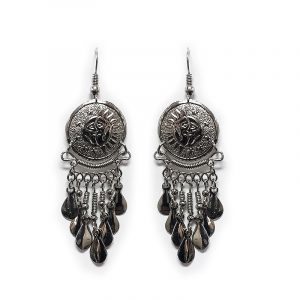 Round-shaped alpaca silver metal earring with long dangles in sun and moon style.