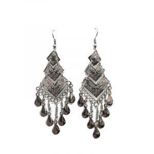 Triangular-shaped alpaca silver metal earring with long dangles.