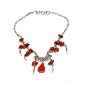 Handmade alpaca silver metal chain anklet with teardrop-cut stone, chip stones, and metal dangles in red jasper.