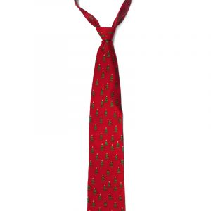 Handmade Christmas tree pattern silk tie in red, green, and light yellow adult size.