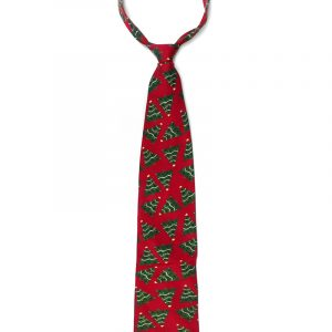 Handmade Christmas tree pattern silk tie in red, green, blue, and light yellow adult size.