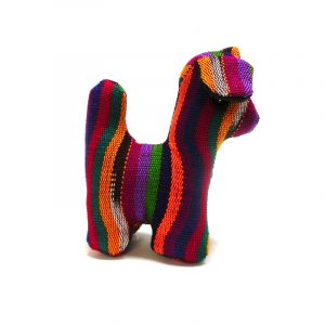 Handmade mini multicolored striped cotton stuffed animal dog toy.
