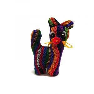 Handmade mini multicolored striped cotton stuffed animal cat toy.