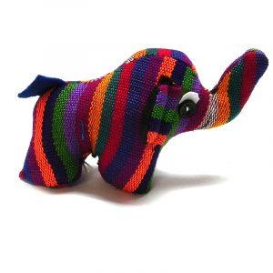 Handmade mini multicolored striped cotton stuffed animal elephant toy.