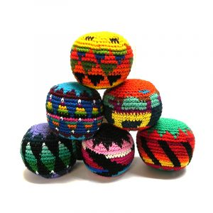 Handmade assorted multicolored hacky balls with geometric tribal pattern design.