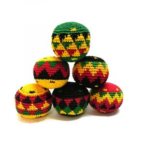 Handmade assorted multicolored hacky balls with geometric tribal pattern design in Rasta colors.