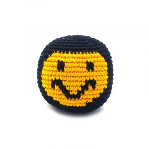 Handmade single hacky ball with smiley face design in black and yellow color combination.