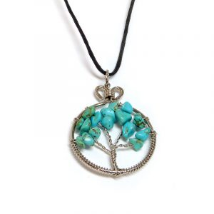 Handmade round silver metal wire wrapped chip stone tree of life pendant on adjustable necklace in turquoise blue howlite.