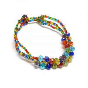 Czech glass seed bead multi strand bracelet with multiple crystal bead centerpiece in rainbow colors.