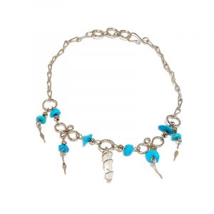 Handmade alpaca silver metal chain anklet with wire wrapped natural clear quartz crystal, chip stones, and metal dangles in turquoise color.