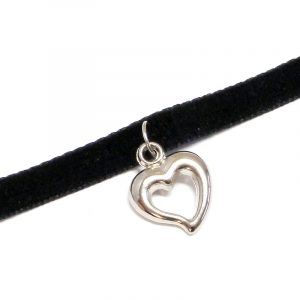 Handmade choker necklace with silver metal heart charm, black velvet ribbon, and easy hook clasp closure.
