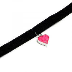 Handmade black velvet ribbon choker necklace with mini heart-shaped resin, silver metal, and crushed chip stone inlay dangle in neon pink color.