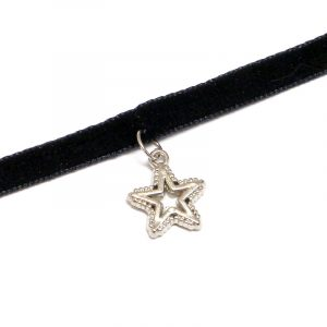 Handmade choker necklace with silver metal star charm, black velvet ribbon, and easy hook clasp closure.