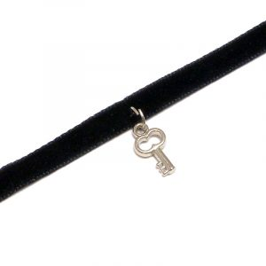 Handmade choker necklace with silver metal key charm, black velvet ribbon, and easy hook clasp closure.