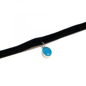 Handmade black velvet ribbon choker necklace with mini oval-shaped resin, silver metal, and crushed chip stone inlay dangle in turquoise blue color.