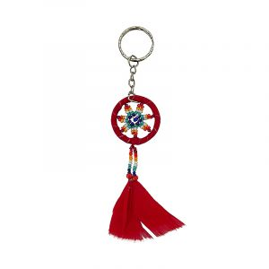 Handmade round suede leather beaded dream catcher keychain with multicolored seed beads, natural feather dangles, and silver metal keyring in red color.