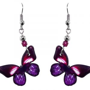 Butterfly acrylic dangle earrings with beaded metal hooks in purple, dark pink, and white color combination.