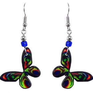 Butterfly acrylic dangle earrings with beaded metal hooks in lime green, blue, red, and black color combination.