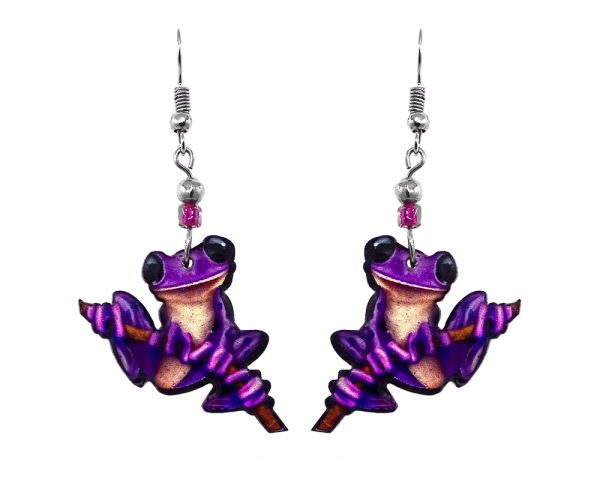 Mia Jewel Shop: Tree frog acrylic dangle earrings with beaded metal hooks in purple, beige, and black color combination.