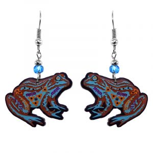 Tribal pattern bullfrog acrylic dangle earrings with beaded metal hooks in turquoise blue, brown, and golden tan color combination.
