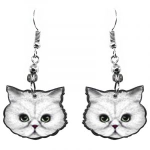 Persian kitten cat face acrylic dangle earrings with beaded metal hooks in white, gray, black, green, and dark pink color combination.