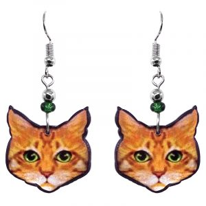 Tabby cat face acrylic dangle earrings with beaded metal hooks in orange, golden yellow, white, lime green, and black color combination.