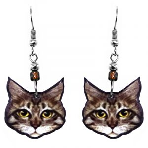 Fluffy Tabby cat face acrylic dangle earrings with beaded metal hooks in brown, beige, white, yellow, amd black color combination.