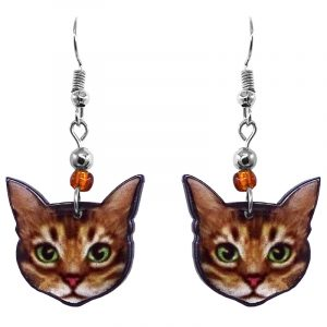 Tabby cat face acrylic dangle earrings with beaded metal hooks in brown, beige, white, lime green, pink, and black color combination.