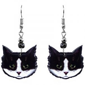 Mia Jewel Shop: Tuxedo cat face acrylic dangle earrings with beaded metal hooks in black, white, lime green, and burgundy color combination.