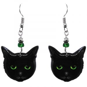 Black Bombay cat face acrylic dangle earrings with beaded metal hooks in black and lime green color combination.