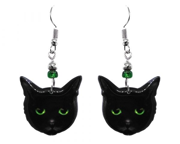 Mia Jewel Shop: Black Bombay cat face acrylic dangle earrings with beaded metal hooks in black and lime green color combination.