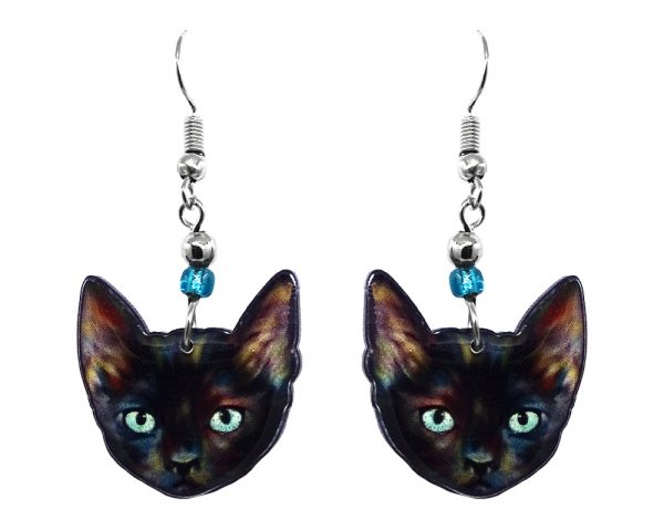 Mia Jewel Shop: Tortoiseshell cat face acrylic dangle earrings with beaded metal hooks in black, light blue, and multicolored color combination.