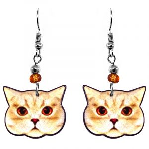 British Shorthair cat face acrylic dangle earrings with beaded metal hooks in orange, peach, white, and black color combination.