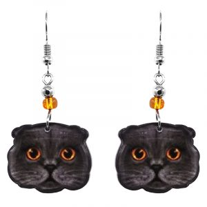 Scottish Fold cat face acrylic dangle earrings with beaded metal hooks in gray, blacl, and golden yellow color combination.