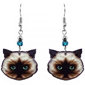 Himalayan cat face acrylic dangle earrings with beaded metal hooks in brown, beige, gray, light blue, and black color combination.