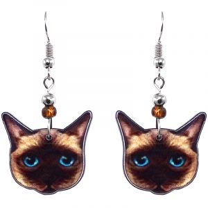 Siamese cat face acrylic dangle earrings with beaded metal hooks in brown, beige, light blue, and black color combination.