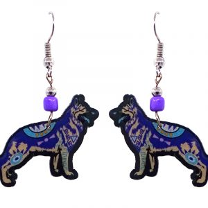 Mia Jewel Shop: Tribal pattern German Shepard dog acrylic dangle earrings with beaded metal hooks in blue, indigo, beige, black, and white color combination.