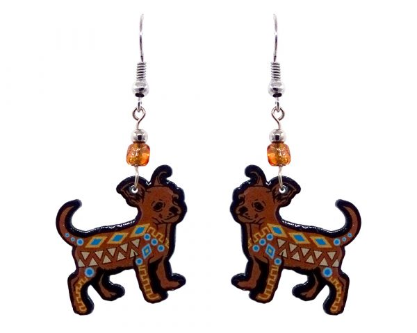 Mia Jewel Shop: Tribal pattern Chihuahua dog acrylic dangle earrings with beaded metal hooks in tan, brown, beige, turquoise blue, and black color combination.
