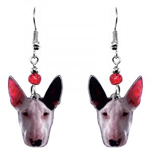 Mia Jewel Shop: Bull Terrier dog face acrylic dangle earrings with beaded metal hooks in white, dark brown, red, pink, and back color combination.