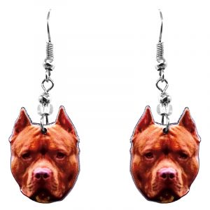 Mia Jewel Shop: Pitbull Terrier dog face acrylic dangle earrings with beaded metal hooks in dark red, orange tan, brown, and black color combination.