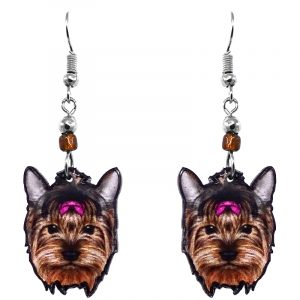 Mia Jewel Shop: Yorkie dog face acrylic dangle earrings with beaded metal hooks in brown, beige, gray, hot pink, and black color combination.