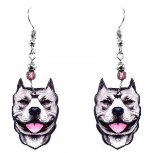 Mia Jewel Shop: Pitbull Terrier dog face acrylic dangle earrings with beaded metal hooks in gray, white, black, and pink color combination.