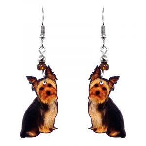 Yorkie dog acrylic dangle earrings with beaded metal hooks in black, brown, tan, and orange color combination.