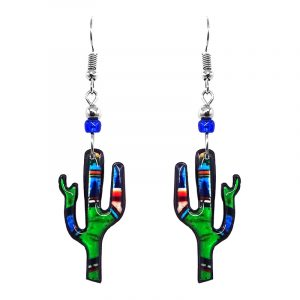 Abstract art pattern Saguaro cactus acrylic dangle earrings with beaded metal hooks in lime green, blue, black, and red color combination.