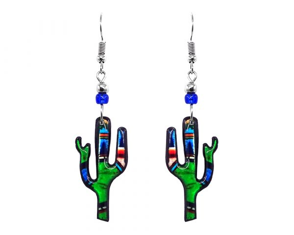 Mia Jewel Shop: Abstract art pattern Saguaro cactus acrylic dangle earrings with beaded metal hooks in lime green, blue, black, and red color combination.